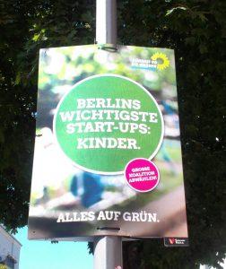 Wahlplakat Grüne: Berlins wichtigste Start-Ups Kinder